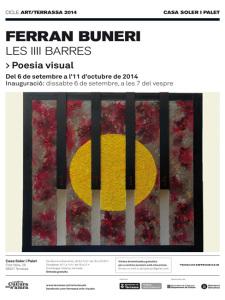 """Cartell de l'exposició """"Les IIII barres"""" de Ferran Buneri"""