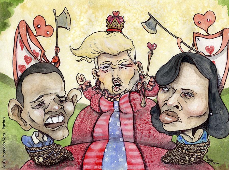 Caricatura Jesús Morgado Pachus · Trump Obama i Michelle