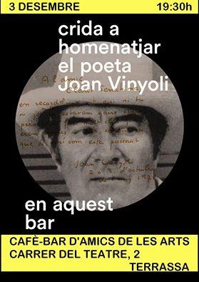 Cartell de la Jam poètica de Terrassa dedicada a Joan Vinyoli.