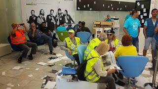 Ocupació de la seu de Telefònica, Mobile Woirld Center, a Barcelona. Foto: TeleAfonica