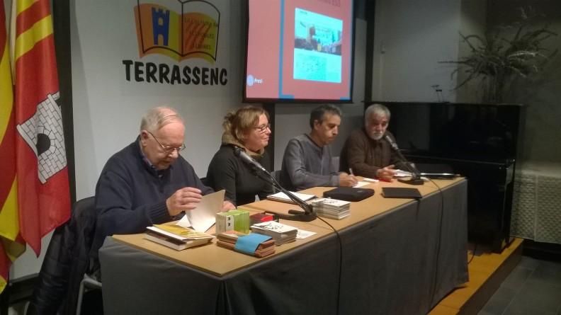 Jordi Estivill i Anna Fernández (XES), Santi Martínez (Som Energia) i Javi (Fiare). Foto: PV