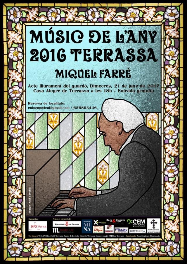 Cartell Músic de l'any Terrassa 2016. Miquel Farré