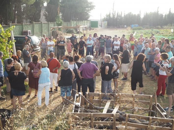Persones assistents a la concentració de suport a Maria, dimecres 19 juliol. Foto MG